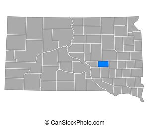 Map of Jerauld in South Dakota
