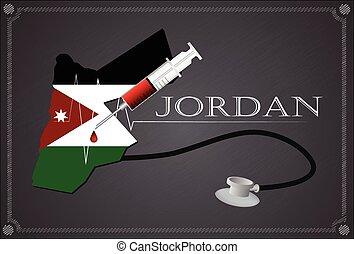 Map of Joardan with Stethoscope and syringe.