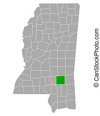 Map of Jones in Mississippi