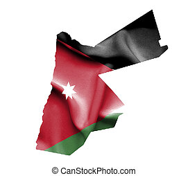 Map of Jordan with waving flag isolated on white