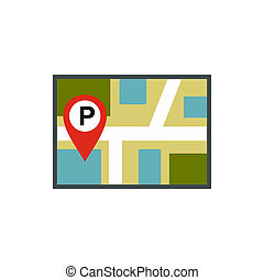 Map of JPS with a parking sign icon, flat style