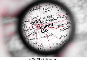 Map of Kansas City - Selective focus on antique map of...