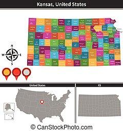 Map of Kansas, US
