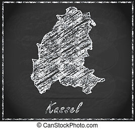 Map of kassel as chalkboard  in Black and White