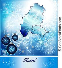 Map of kassel in Christmas Design in blue