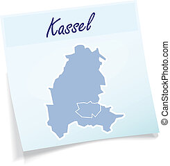 Map of kassel as sticky note in blue