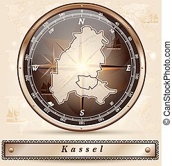 Map of kassel with borders in bronze