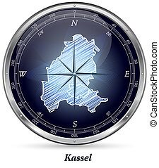 Map of kassel with borders in chrome