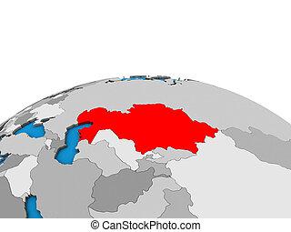 Map of Kazakhstan on 3D globe