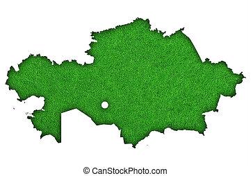 Map of Kazakhstan on green felt