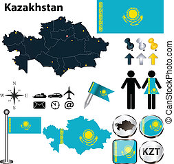 Kazakhstan administrative map with flag Kazakhstan vector