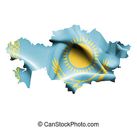 Map of Kazakhstan with waving flag isolated on white