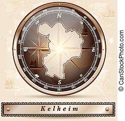 Map of Kelheim with borders in bronze