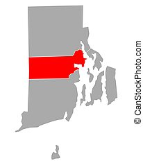 Map of Kent in Rhode Island