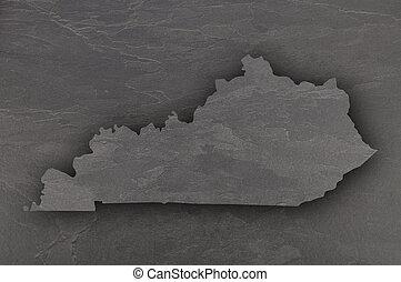 Map of Kentucky on dark slate