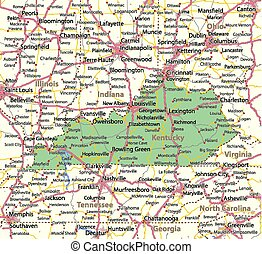 Map of Kentucky. Shows state borders, urban areas, place names, roads and highways. Projection: Mercator.