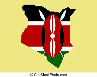 map of Kenya and Kenyan flag illustration