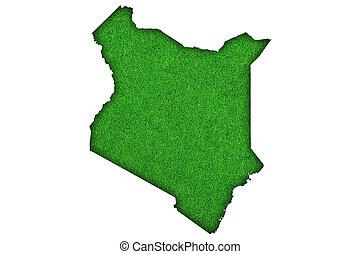 Map of Kenya on green felt
