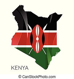Map of Kenya with an official flag. Illustration on white background