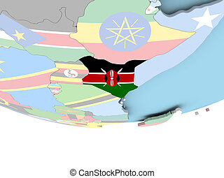 Map of Kenya with flag on globe