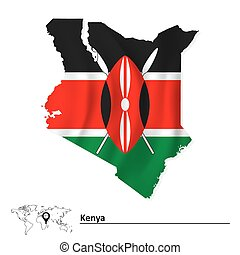 Map of Kenya with flag