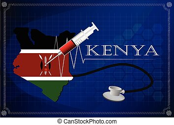 Map of Kenya with Stethoscope and syringe.