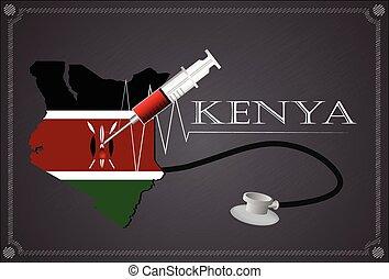 Map of  Kenya with Stethoscope and syringe.