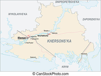 Map of Kherson Oblast with major cities and roads