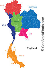 Map of Kingdom of Thailand with the provinces colored in bright colors
