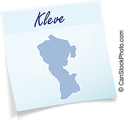 Map of Kleve as sticky note in blue