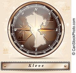 Map of Kleve with borders in bronze