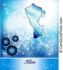 Map of Kleve in Christmas Design in blue