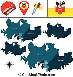 Map of Krasnodar with Districts - Vector map of Krasnodar, ...
