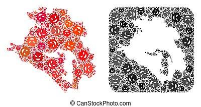 Map of Krasnodarskiy Kray - Pandemic Virus Collage with ...