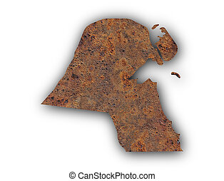 Map of Kuwait on rusty metal