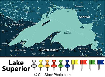 Vector map of Lake Superior with countries, big cities and icons