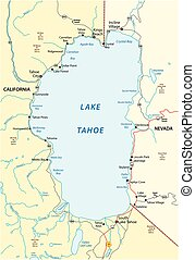Map of Lake Tahoe, located between the US states of California and Nevada