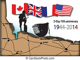 map of landing beaches in Normandy with soldier and helmet