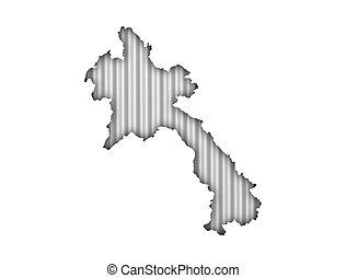Map of Laos on corrugated iron