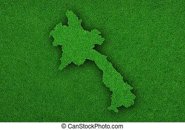 Map of Laos on green felt