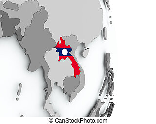 Map of Laos with flag