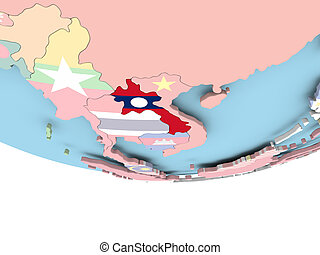 Map of Laos with flag on globe