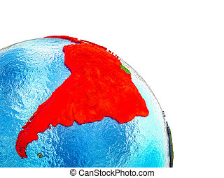 Map of Latin America on 3D Earth - Latin America Highlighted...