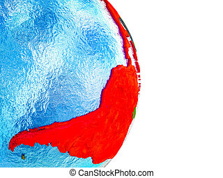 Map of Latin America on 3D Earth - Latin America on 3D model...