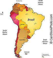 Map of Latin America. Vector illustration.