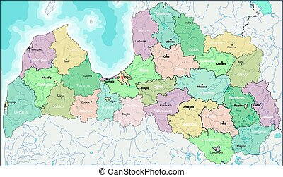 Map of Latvia - Latvia is a country in the Baltic region of...