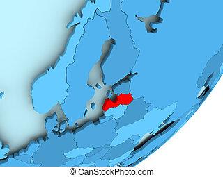 Map of Latvia on blue political globe