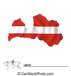 Map of Latvia with flag
