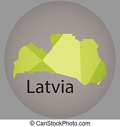 map of Latvia,low polygon