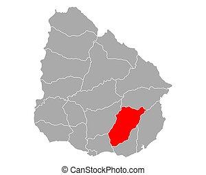 Map of Lavalleja in Uruguay